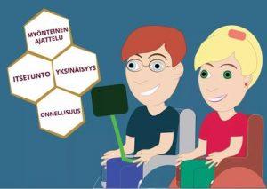 Piirroskuvassa pyörätuoleissa istuvat nainen ja mies hymyilevät. Kuvassa tekstilaatikot, johon kirjoitettu itsetunto, onnellisuus, yksinäisyys ja myönteinen ajattelu.
