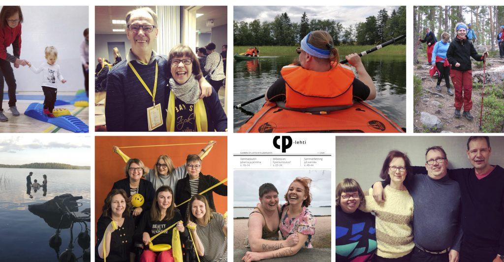 Kollaasi kahdeksasta kuvasta, joissa on CP-liiton kohderyhmään kuuluvia henkilöitä ja työntekijöitä.