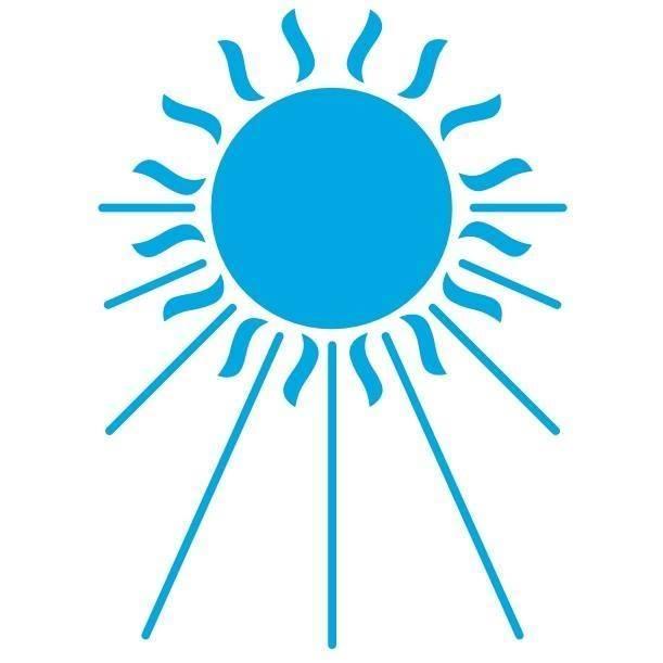 Uudenmaan CP-yhdistyksen logo. Aurinko ja sininen väri.