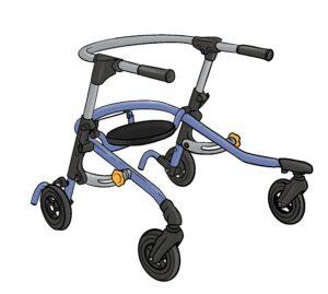 Dallari eli kävelytuki. jossa on neljä pyörää alla, istumalauta. takakaari ja käsille tuet.
