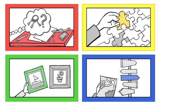 Hahmottamiseen liittyvät toiminnalliset taidot havainnollistettuna neljällä kuvalla. 1. kuvassa on pöytä, jossa on papereita, lyijykynä, älypuhelin ja rannekello. Kuvan keskellä ajatuskuplassa on avainnippu ja kysymysmerkki. 2. kuvassa on palapeli ja käsi, jossa yksi palapelin pala. 3. kuvassa on kaksi taulua, joista toisessa on purjevene ja toisessa ruukkukukka. 4. kuvassa on tienviittoja ja käsi pitää karttaa.
