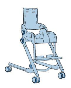 Piirretty suihkutuoli, jossa pyörät, selkänoja, haarakiila sekä jalkalaudat.