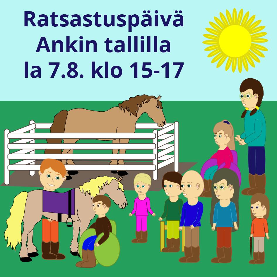 Ratsastuspäivä Ankin tallilla lauantaina 7.8. klo 15-17. Kuvassa on perheitä, jotka kokoontuvat Ankin tallille.