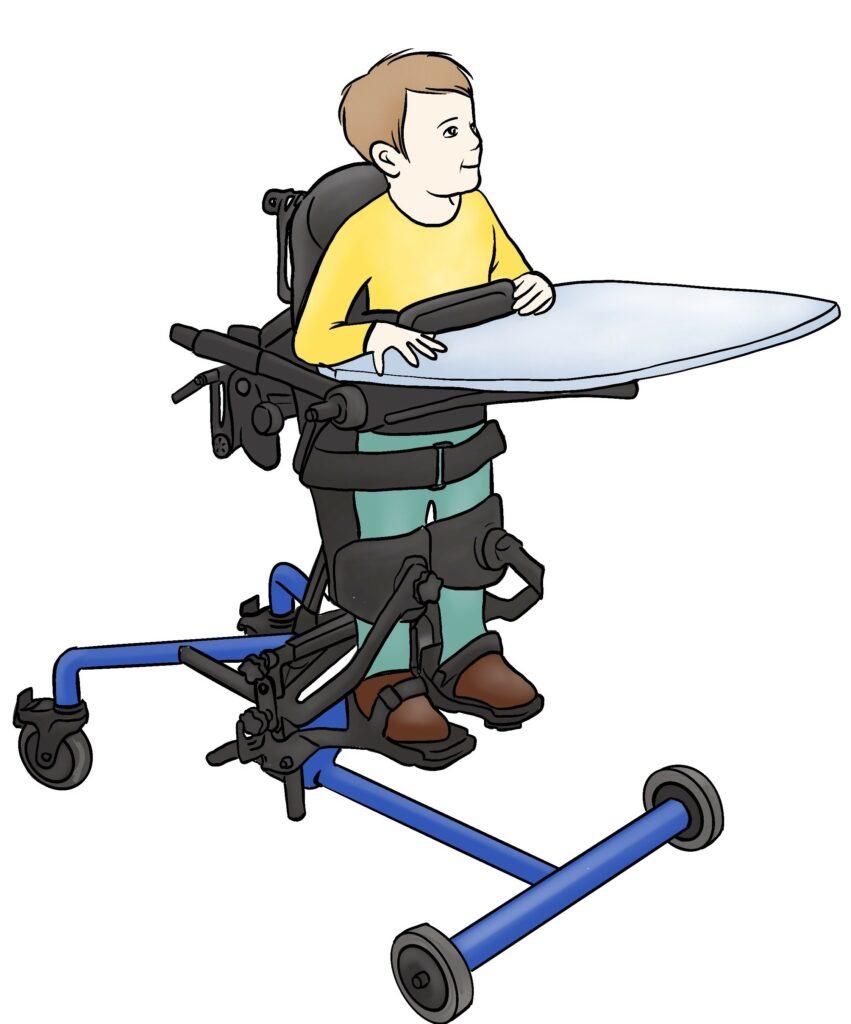 Seisomatelineessa, jossa on pöytätaso, seisova lapsi.