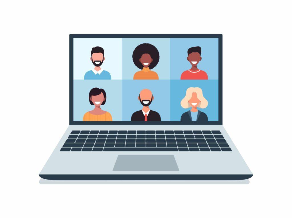 Kuvassa piirretty kannettava tietokone, jonka ruudulla näkyy miesten ja naisten kasvoja etäkokoukseen järjestäytyneenä