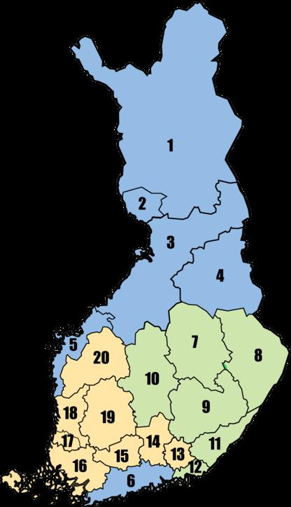 Suomen kartta, joka on jaettu 20 eri alueeseen.
