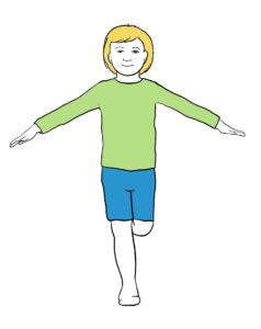 Piirroskuva lapsesta, joka seisoo yhdellä jalalla. Kädet ovat levittyneet sivulle tasapainon avuksi.