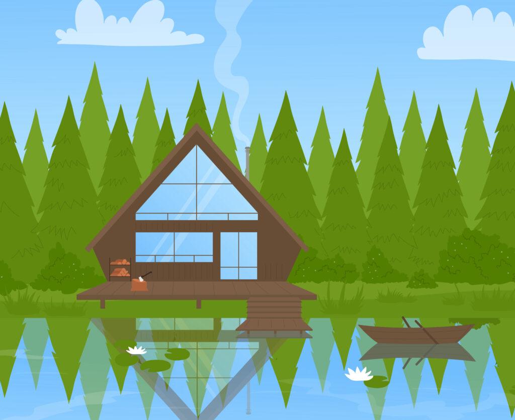 Piirretty mökki metsän reunalla, järven rannalla