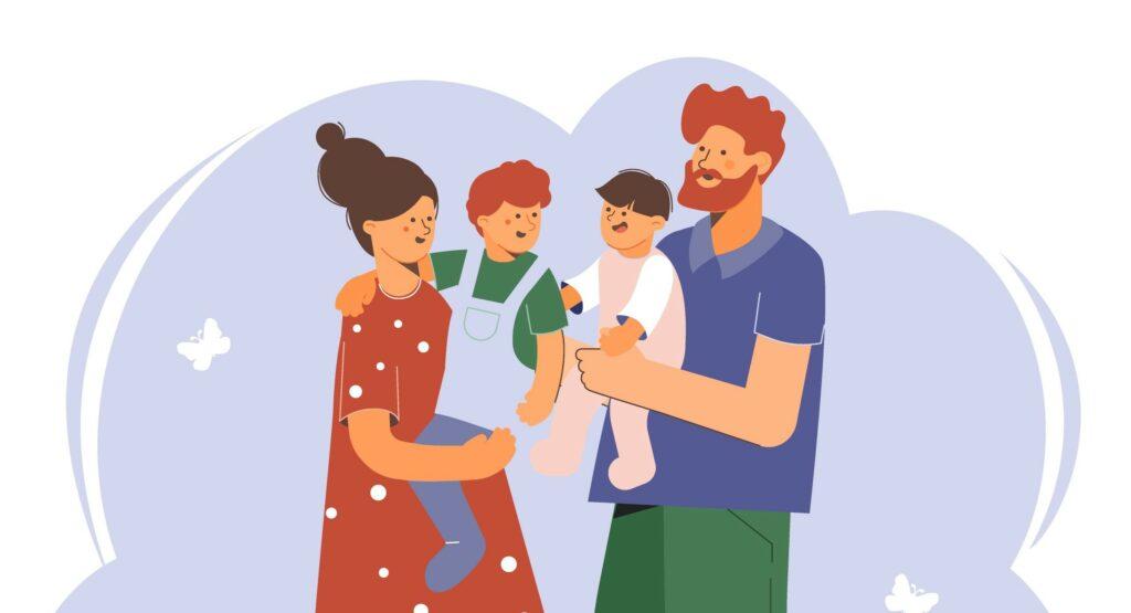 Piirroskuvassa kaksi vanhempaa katsovat toisiaan ja molempien sylissä on hymyilevät lapset.