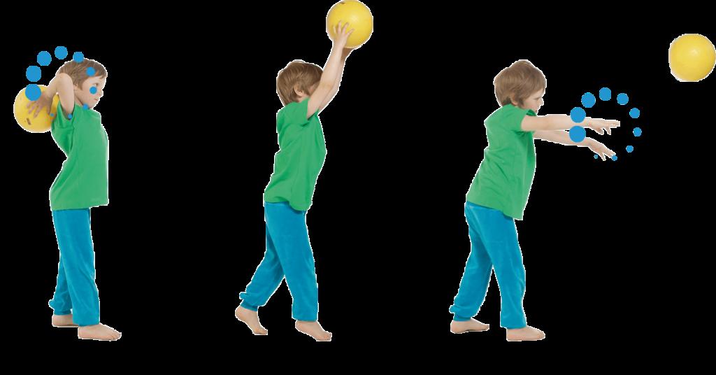 Kolmen kuvan sarjassa poika heittää palloa.